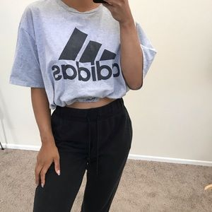 Gray adidas drawstring crop tee